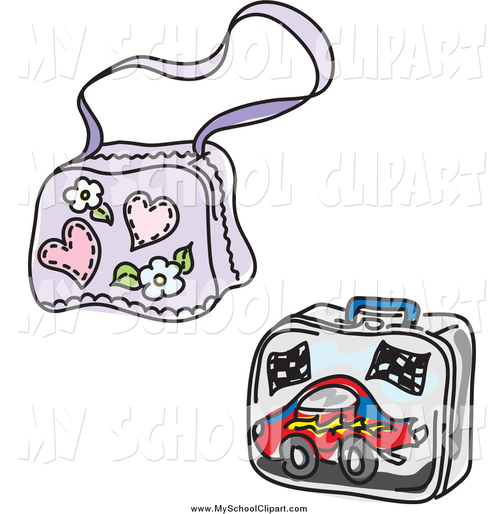 1024x1044 Clip Art Of A Girly School Bag And Boy Lunch Box By Inkgraphics