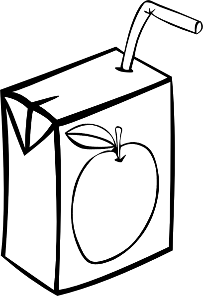408x596 Apple Juice Box (B And W) Clip Art