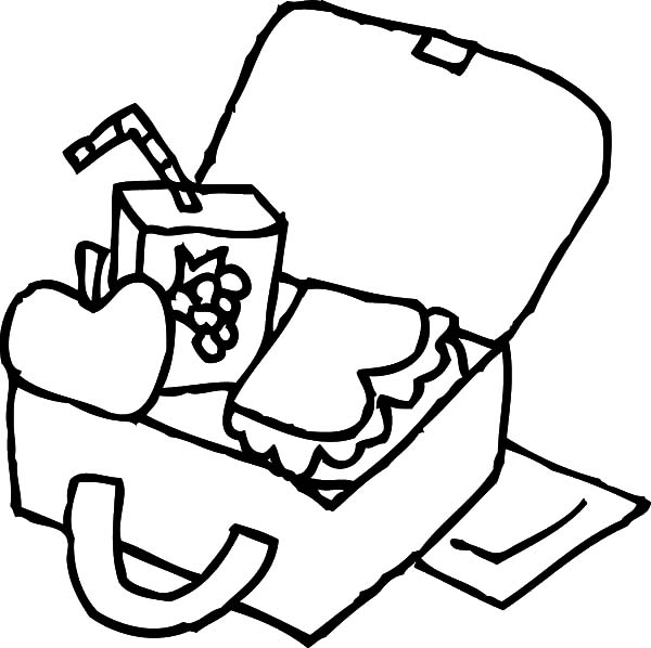 600x598 Kindergarten Kid Lunchbox Colouring Pages