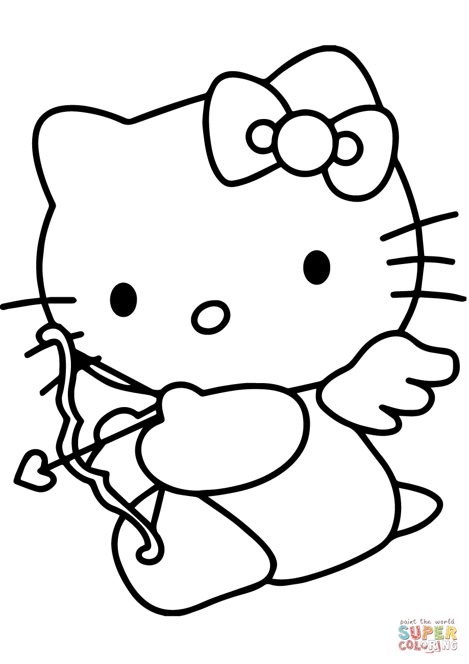 919x1300 hello kitty valentines day cupid coloring page free printable