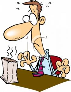 233x300 Clipart Cartoon Of A Man With A Smelly Lunch Sack