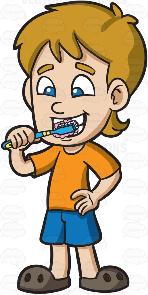 515x1024 A Boy Brushing His Teeth After Lunch