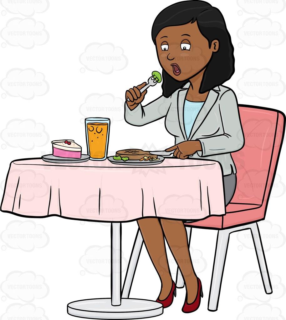 914x1024 A Business Executive Having Lunch Cartoon Clipart
