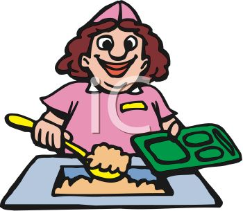 350x305 Royalty Free Clip Art Image Funny Cartoon Of A Lunch Lady Putting