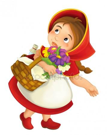 357x450 Cartoon Little Girl With Lunch Basket And Flowers Stock Photo