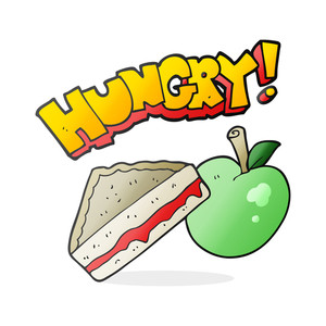 300x300 Freehand Drawn Black And White Cartoon Packed Lunch Royalty Free