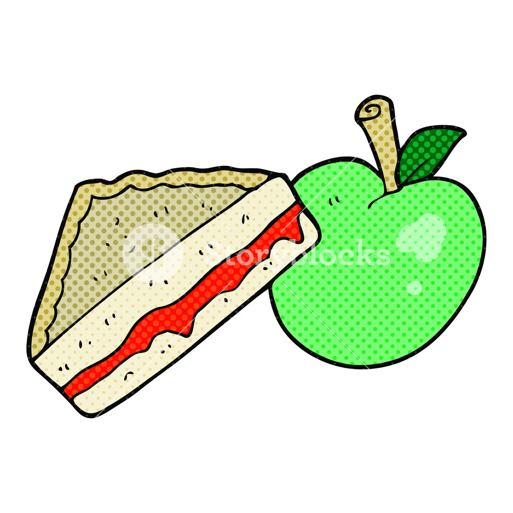 1000x1000 Freehand Drawn Cartoon Packed Lunch Royalty Free Stock Image