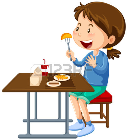 411x450 Children Having Lunch In Canteen Illustration Royalty Free