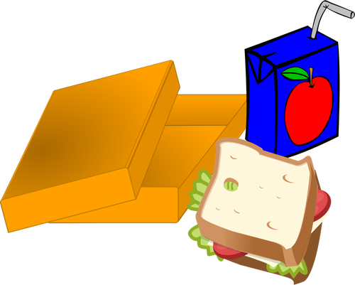500x401 Vector Image Of Orange Lunch Box With Sandwich And Juice Public