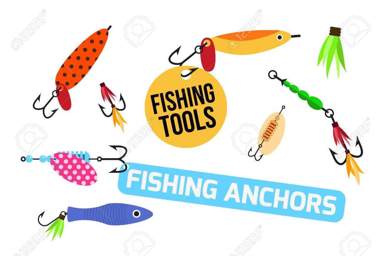 1300x871 Fishing Lure Vector Set. Fishing Tools Illustration. Fishing