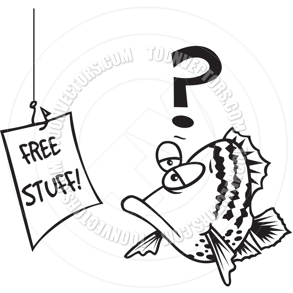 940x940 Cartoon Fish Lure (Black And White Line Art) By Ron Leishman