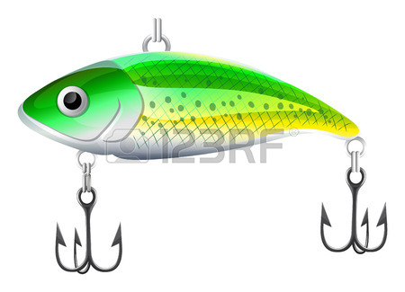 450x325 Plastic Orange Fishing Lure With Hooks Royalty Free Cliparts
