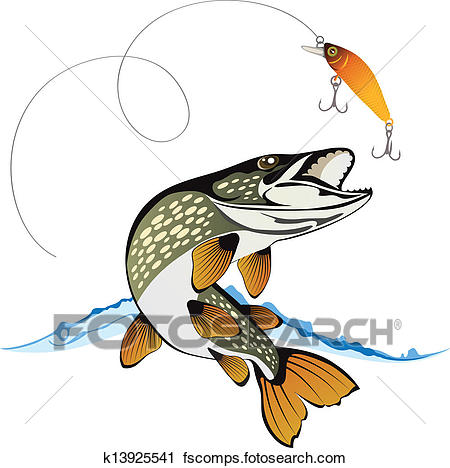 450x468 Clipart Of Pike And Fishing Lure K13925541