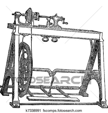 450x470 Clipart Of Spindle Lathe Woodturning Machine, Vintage Engraving