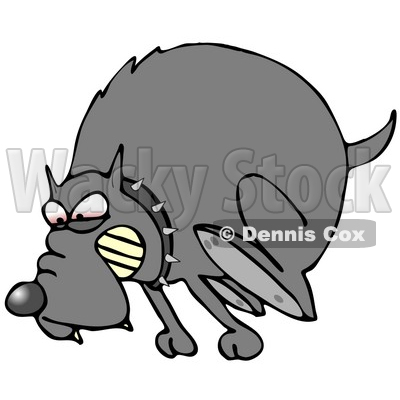 400x400 Illustration Of A Mad Dog In The Red Zone, Wearing A Spiked Collar