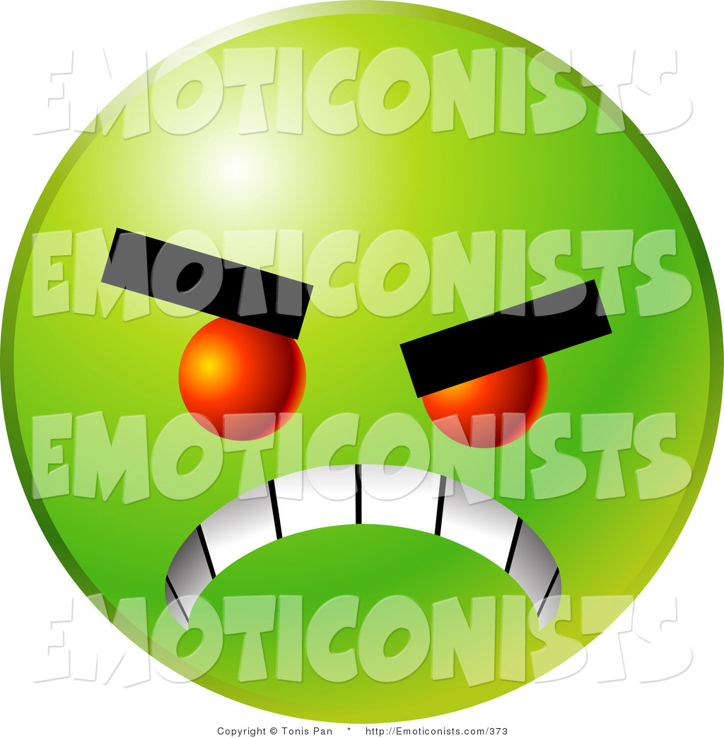 1024x1044 Clip Art Of A Mad Green Emoticon Face With Red Eyes, Gritting Its