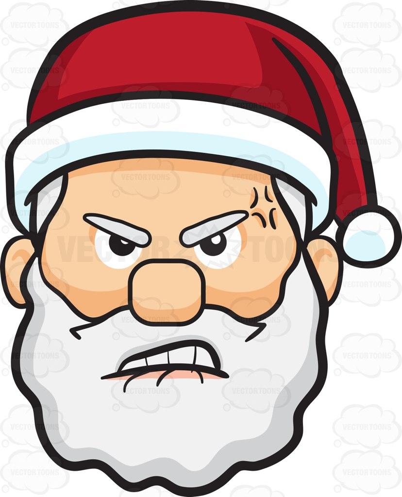 828x1024 A Furious And Hurt Face Of Santa Claus Cartoon Clipart