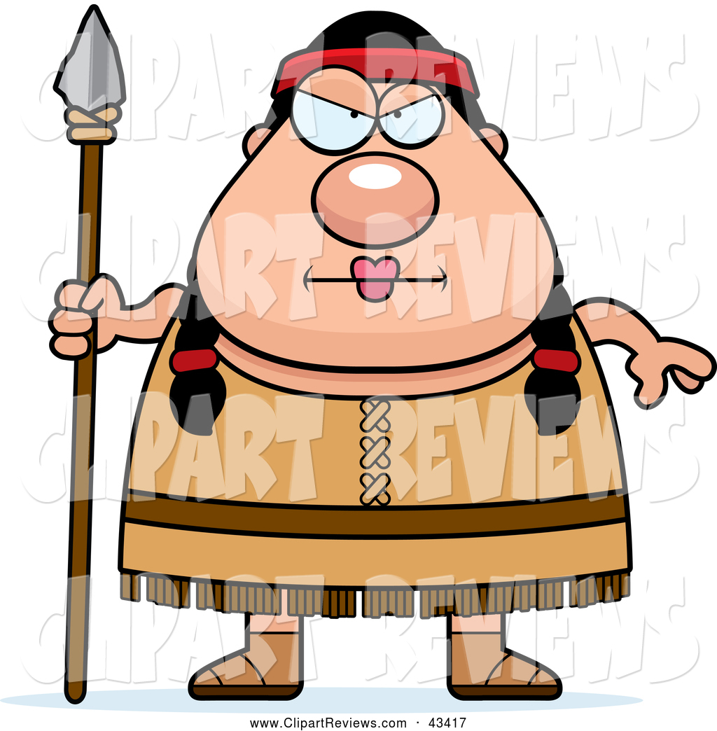 1024x1044 Clip Art Of A Mad Chubby Native American Woman With A Spear By