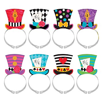 355x355 8 X Mad Hatter Tea Party Hat Headband Set Wonderland Birthday Card