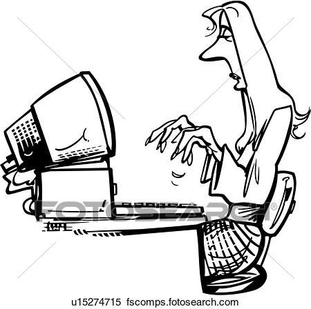 450x448 Clipart Of , Computer, Maestro, Office, People, Cartoon, U13881822