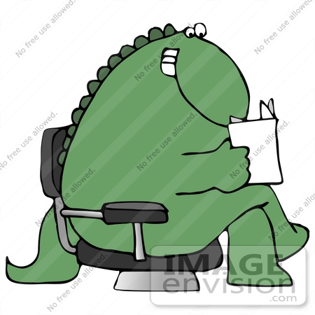 450x450 Clip Art Graphic Of A Seated Happy Green Dinosaur Reading A Letter