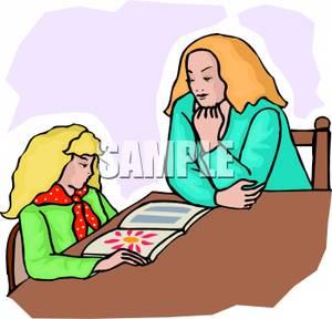300x288 Teacher Sitting With A Student Reading A Magazine