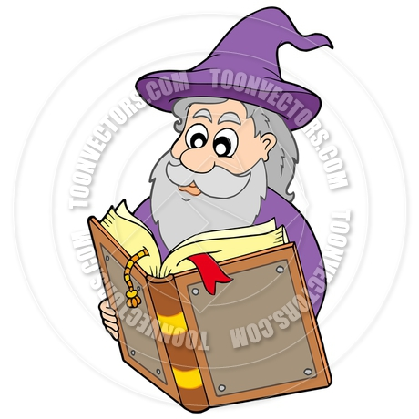 460x460 Cartoon Wizard Reading Magic Book By Clairev Toon Vectors Eps