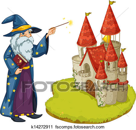450x429 Clipart A Wizard Holding A Book And A Magic Wand In Front