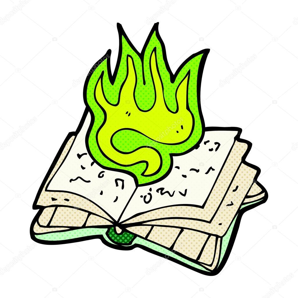 1024x1024 Comic Cartoon Magic Spell Book Stock Vector Lineartestpilot