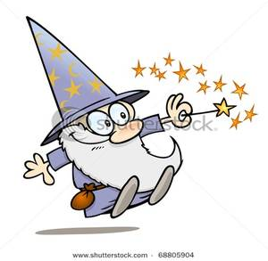 300x293 Cartoon Warlock With His Magic Wand Clipart Picture