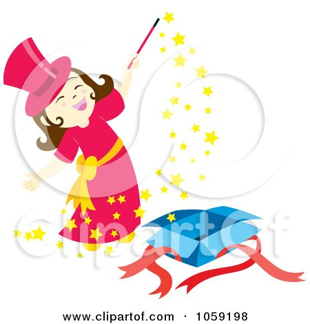 450x470 Royalty Free Vector Clip Art Illustration Of A Magician Girl