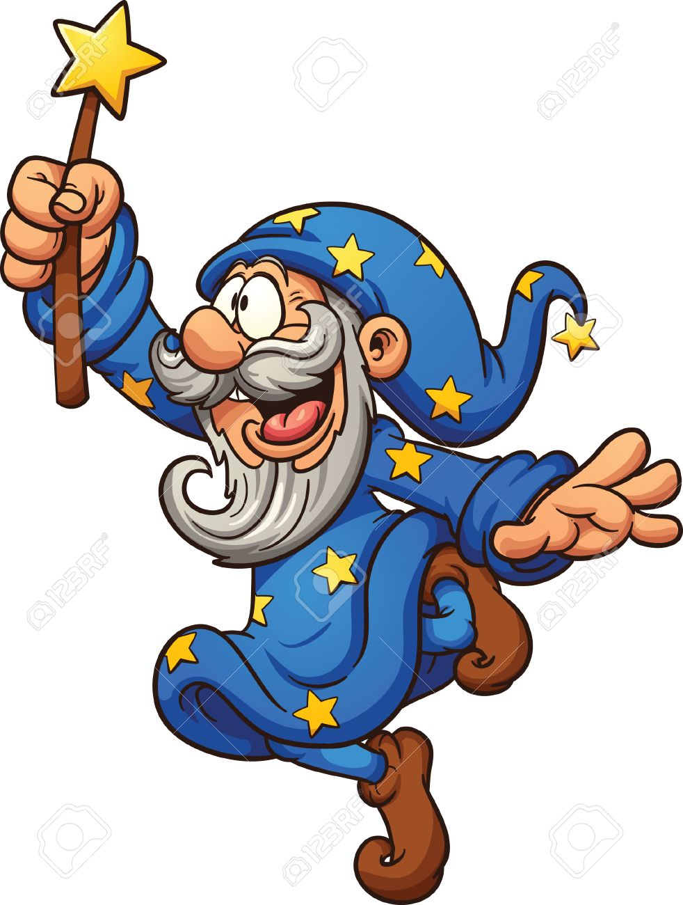 982x1300 Cartoon Wizard With Magic Wand. Vector Clip Art Illustration