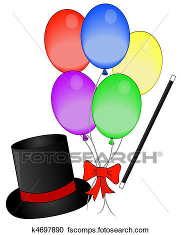 362x470 Stock Illustrations Of Magic Hat And Wand With Balloons K4697890