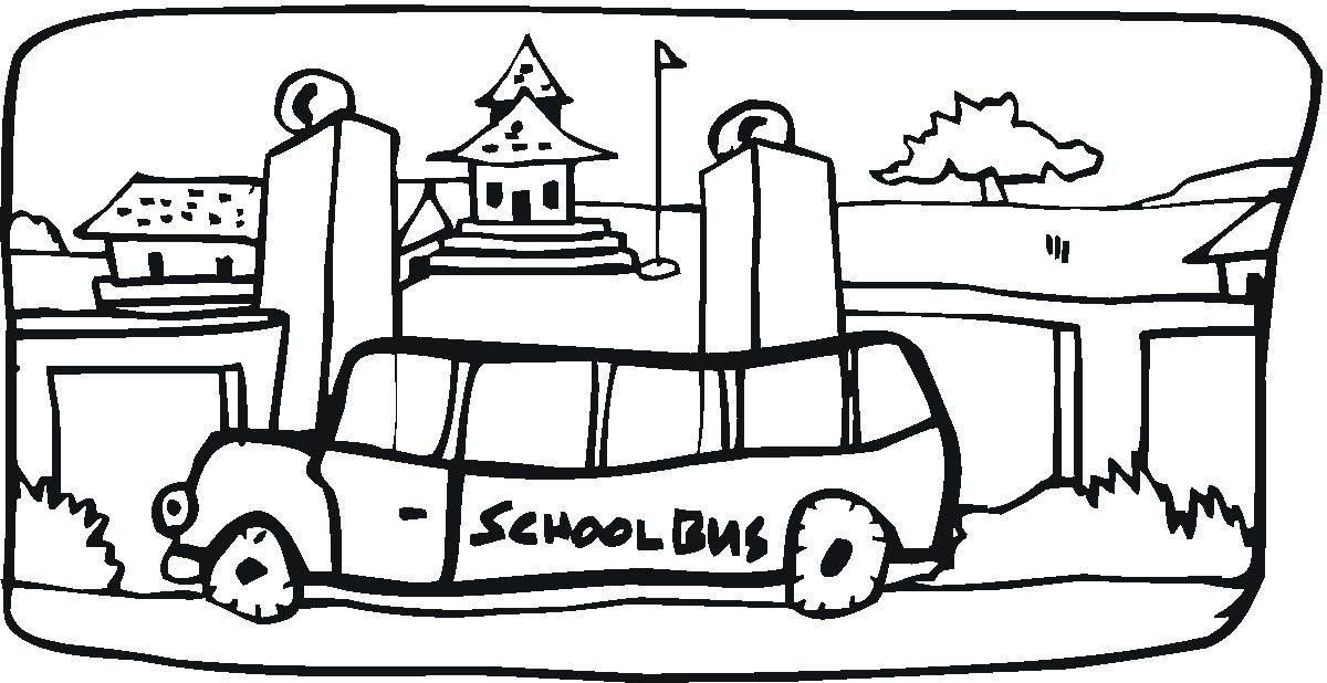 1200x618 School Bus Coloring Page In The Town Transportation Coloring