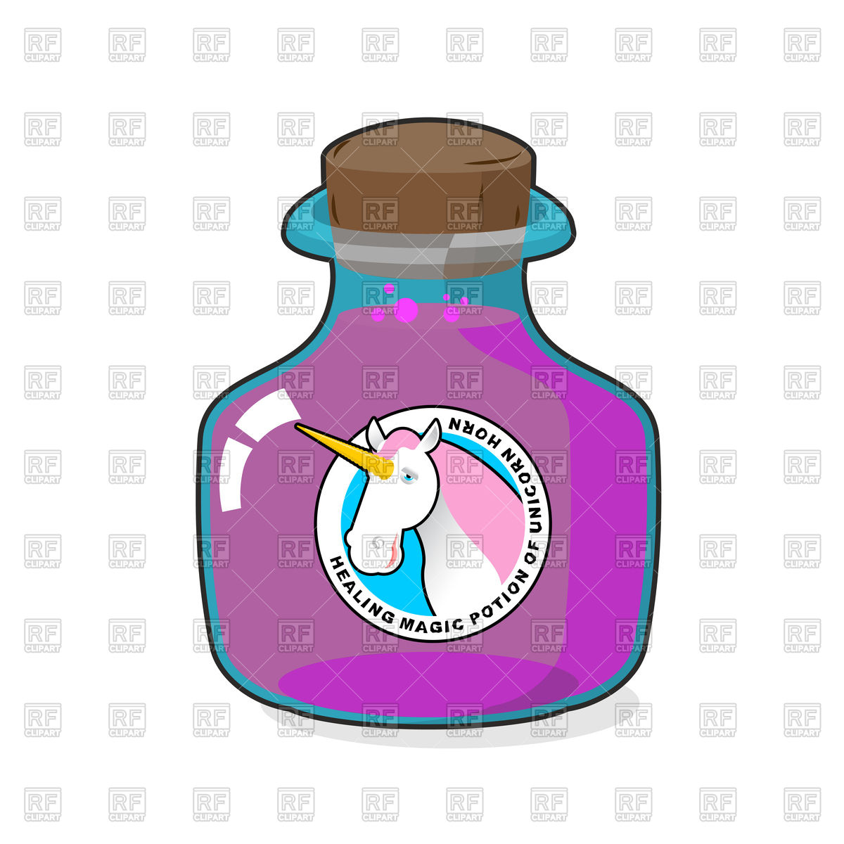 1200x1200 Magical Potion From Horn Of Unicorn Royalty Free Vector Clip Art