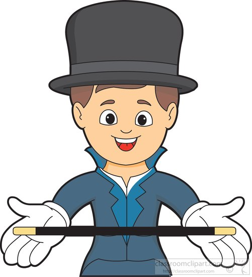 501x550 Entertainment Clipart Magician Wearing Top Hat Holding Magic