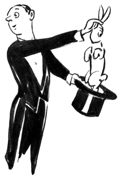 405x600 Magician Cartoon Rabbit Hat Clipart Image