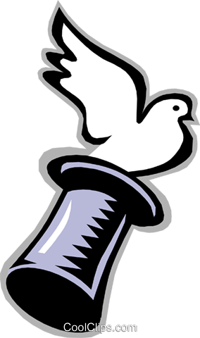 284x480 Bird, Dove Flying From Magician's Hat Royalty Free Vector Clip Art