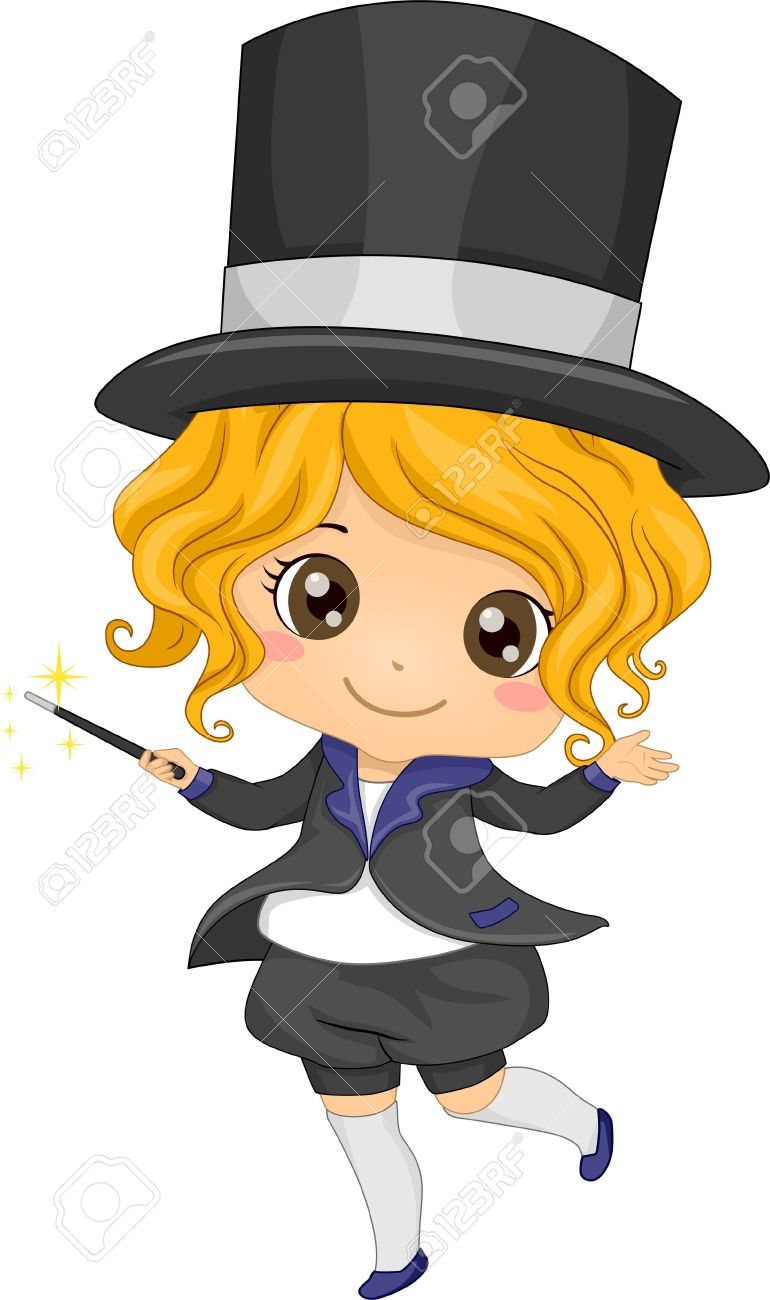 770x1300 Female Magician Clipart