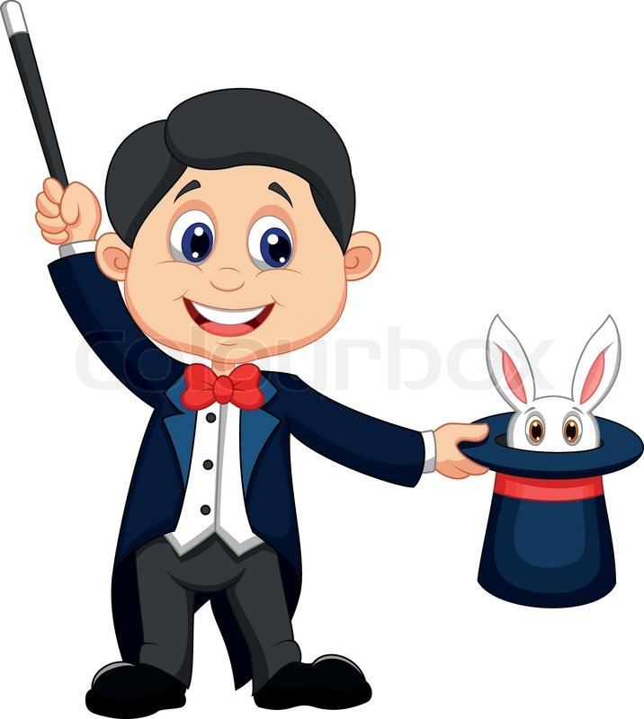716x800 Magician Cartoon Pulling Out A Rabbit From His Top Hat Stock