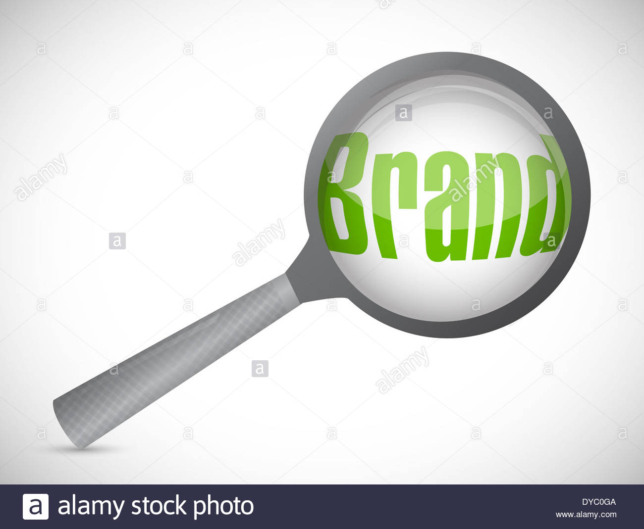 1300x1069 Magnifying Glass Showing Brand Word On White Background Stock