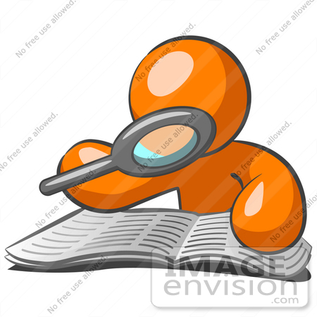 450x450 Clip Art Graphic Of An Orange Guy Character Reading Through A Book