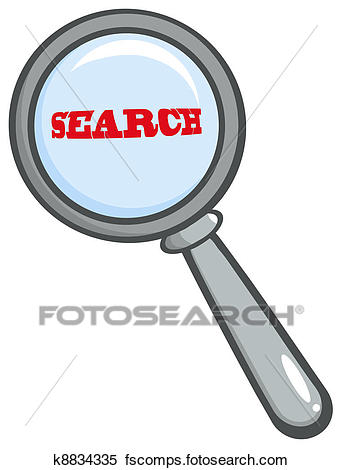 342x470 Clipart Of Magnifying Glass With Word Search K8834335
