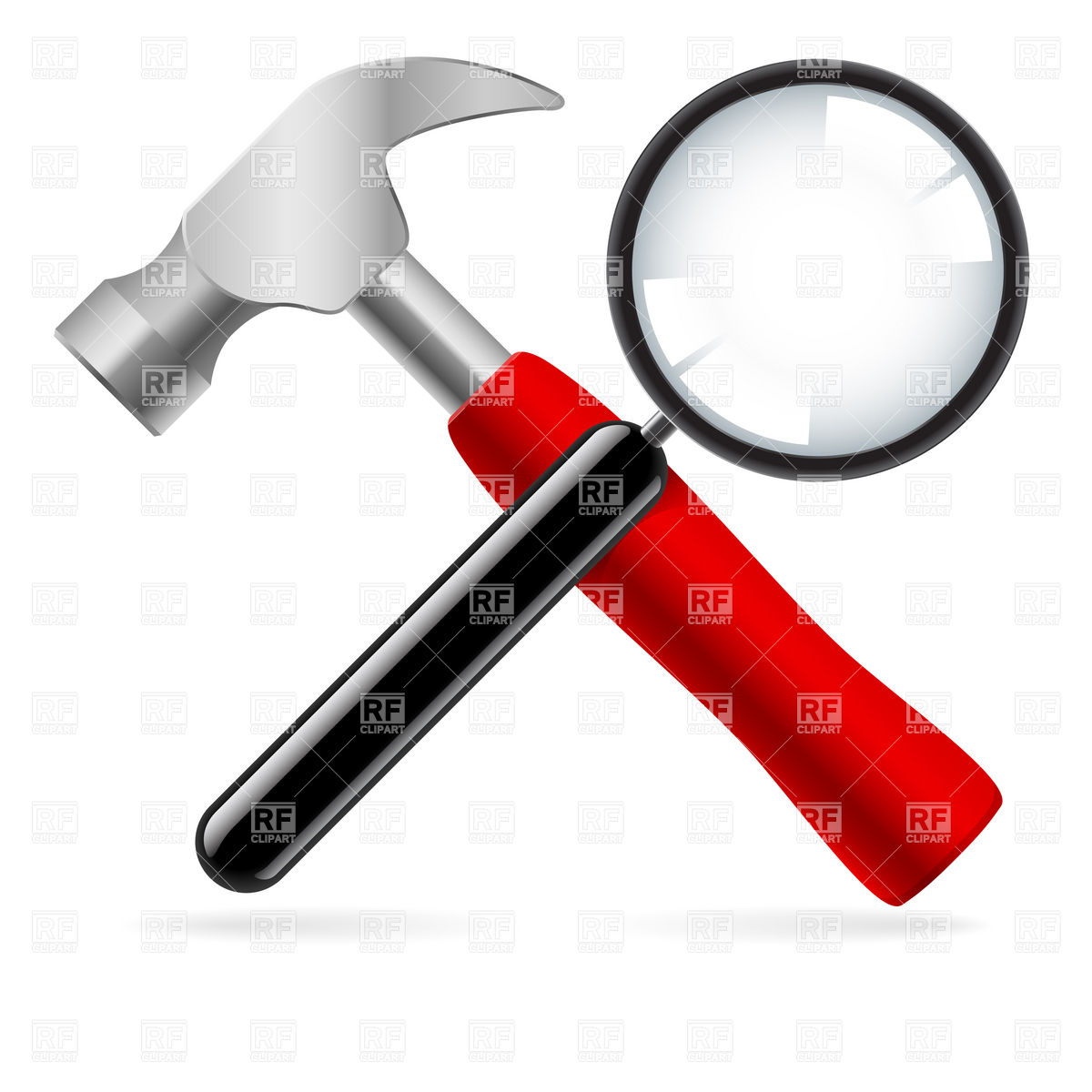 1200x1200 Hammer And Magnifying Glass Royalty Free Vector Clip Art Image