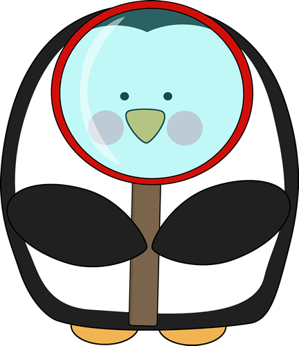 432x500 Penguin With A Magnifying Glass Clip Art