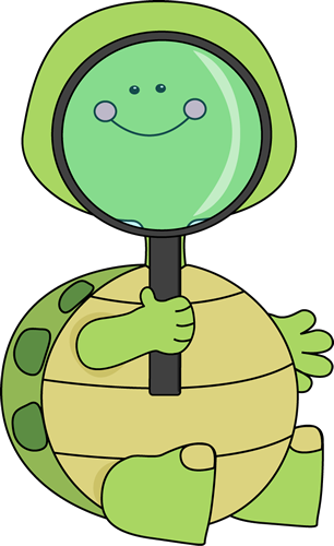 306x500 Turtle Looking Through Magnifying Glass Clip Art