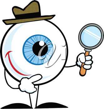 333x350 Cartoon Clip Art Illustration Of An Eyeball With A Magnifying Glass