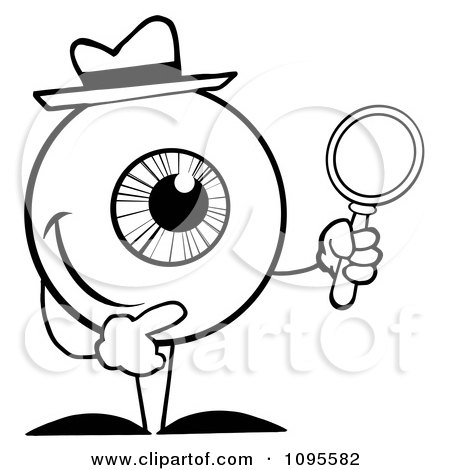 450x470 Clipart Blacknd White Eyeball Character Detective Holding