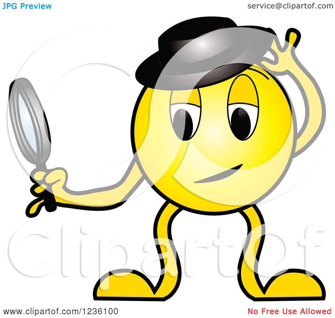 1080x1024 Clipart Of A Yellow Detective Emoticon With A Hat And Magnifying