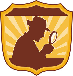 290x300 Detective With Magnifying Glass Royalty Free Stock Image
